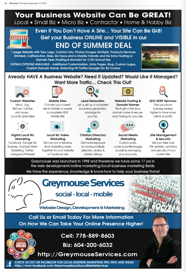 Greymouse Services BackPg Ad on TheLocalWeekly Sept27